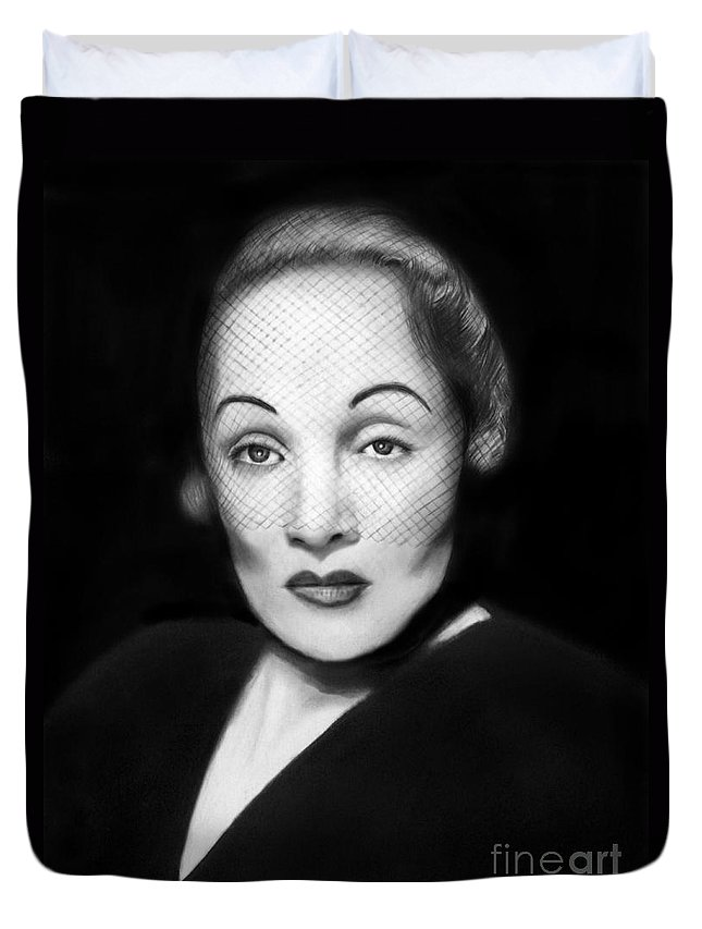 Marlene Dietrich Duvet Cover featuring the drawing Marlene Dietrich by Peter Piatt