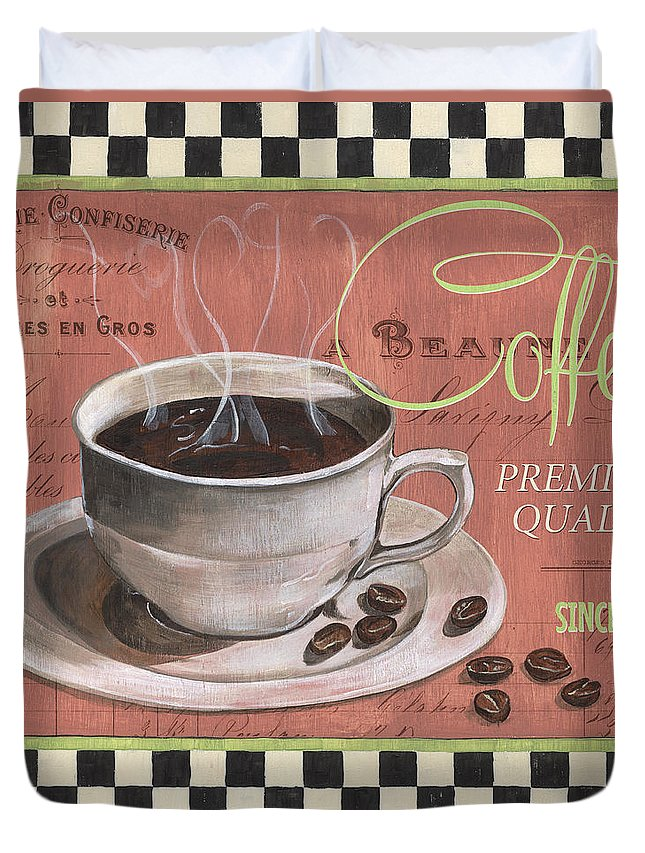 Coffee Duvet Cover featuring the painting Marsala Coffee 1 by Debbie DeWitt