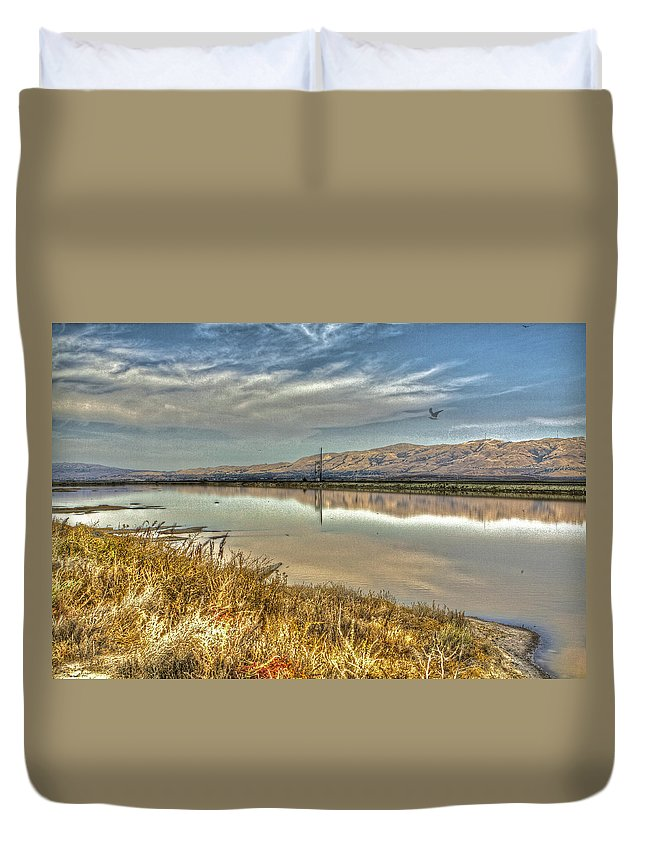 Alviso Duvet Cover featuring the photograph Marshlands 2 by SC Heffner
