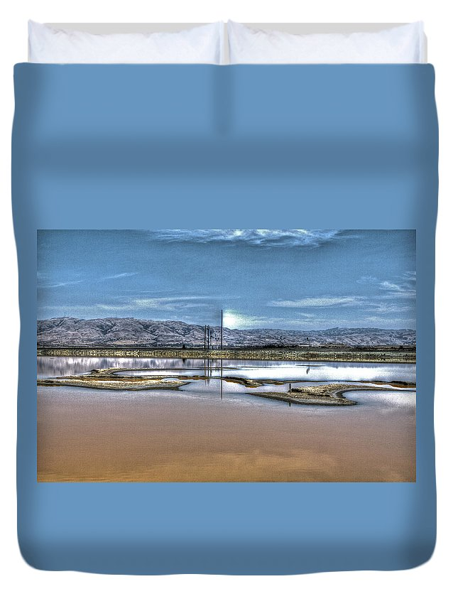 Alviso Duvet Cover featuring the photograph Marshlands by SC Heffner