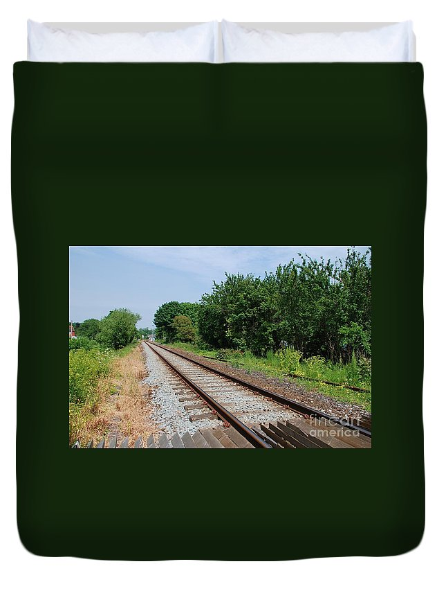 Railway Duvet Cover featuring the photograph Marshlink Line Rye by David Fowler