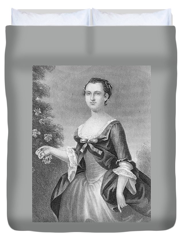 1757 Duvet Cover featuring the painting Martha Washington (1732-1801) by Granger