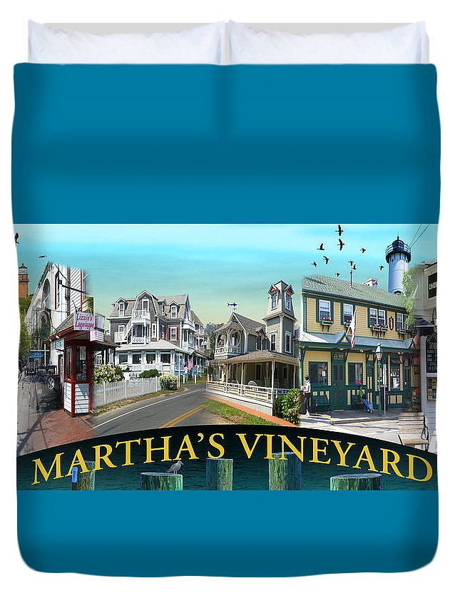 Landscape Duvet Cover featuring the photograph Martha's Vineyard Collage by Gerry Robins