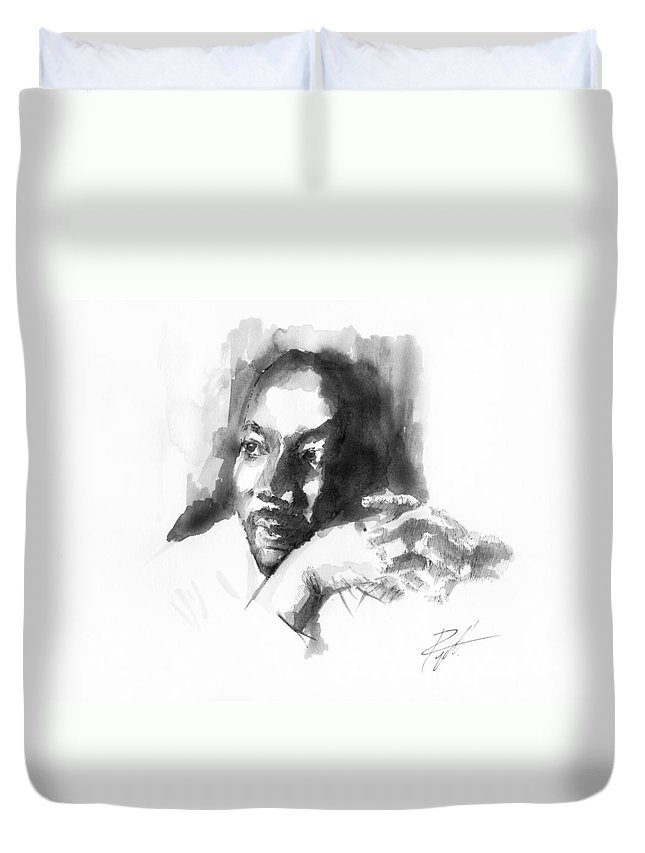 Martin Luther King Jr Duvet Cover featuring the drawing Martin Luther King Jr by Gerald Piggott