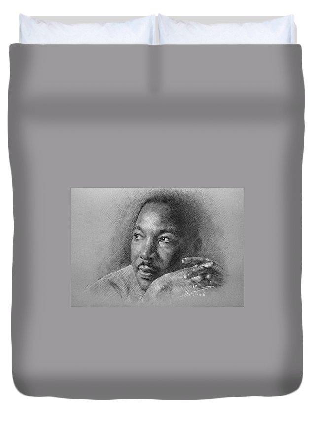 Portrait Duvet Cover featuring the drawing Martin Luther King Jr by Ylli Haruni