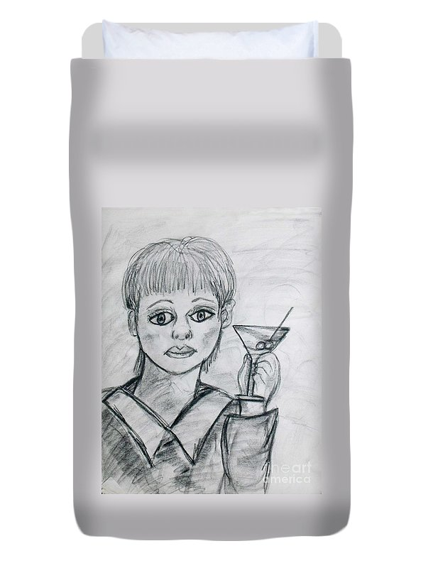 Woman Drinking Duvet Cover featuring the drawing Martini Girl by Catherine Ratliff