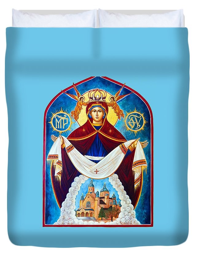 Orthodox Duvet Cover featuring the photograph Mary And The Holy Church by Munir Alawi