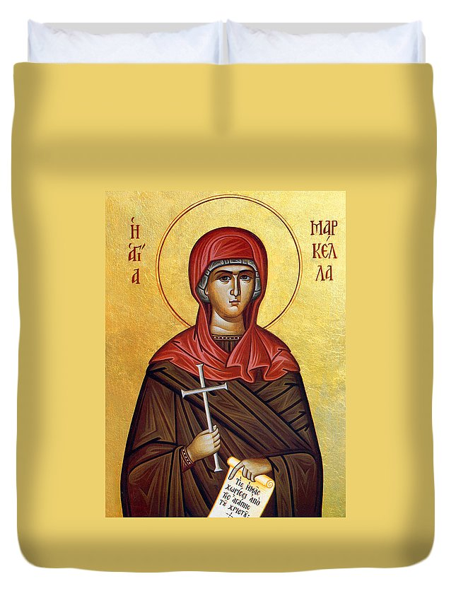 Orthodox Duvet Cover featuring the photograph Mary In Brown by Munir Alawi