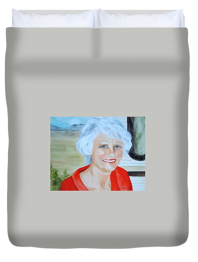 Capulin Volcano Duvet Cover featuring the painting Mary by Jean Blackmer