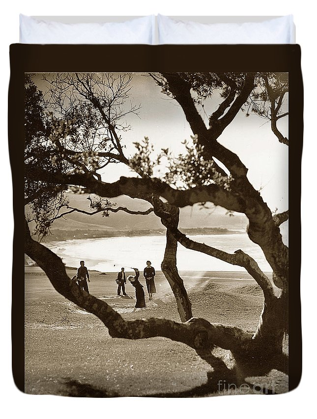 80-066-0004 Duvet Cover featuring the photograph Mary Morse At The 13th Hole Daughter Of S F B Morse Circa 1935 by California Views Archives Mr Pat Hathaway Archives
