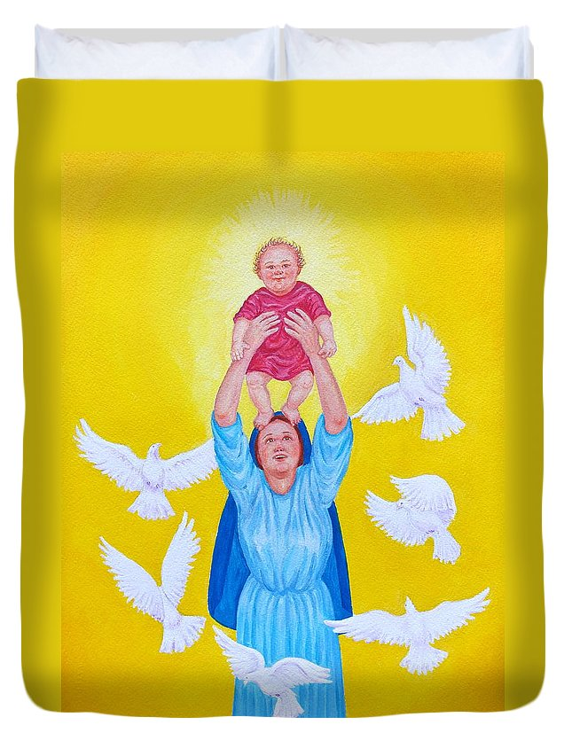 Christmas Card Duvet Cover featuring the painting Mary Offers Her Child Jesus To His Father by Michele Myers