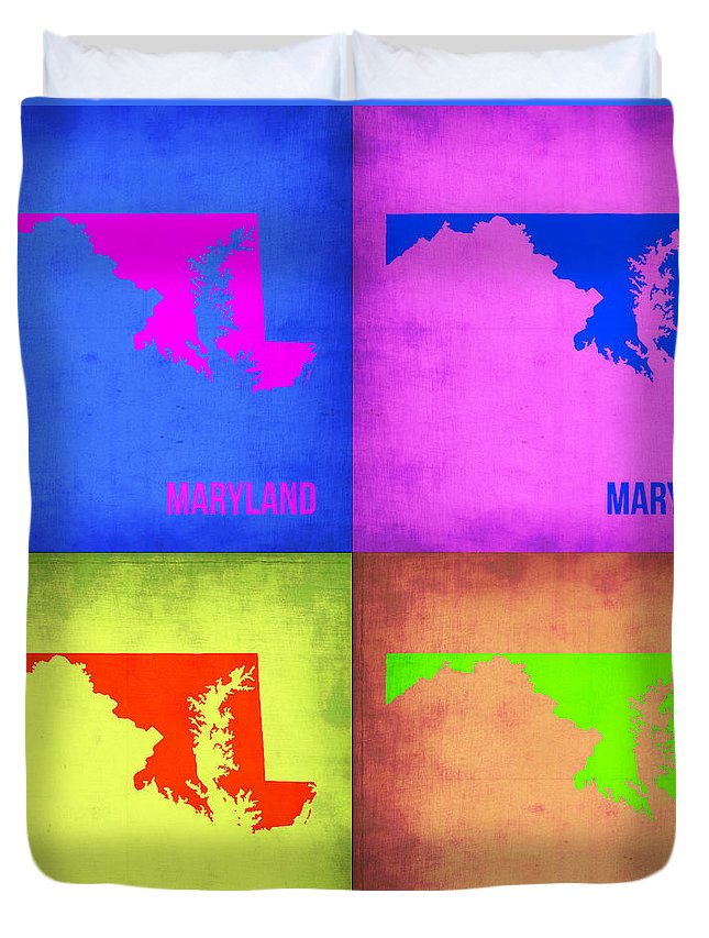 Maryland Map Duvet Cover featuring the painting Maryland Pop Art Map 1 by Naxart Studio