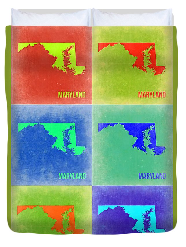 Maryland Map Duvet Cover featuring the painting Maryland Pop Art Map 2 by Naxart Studio