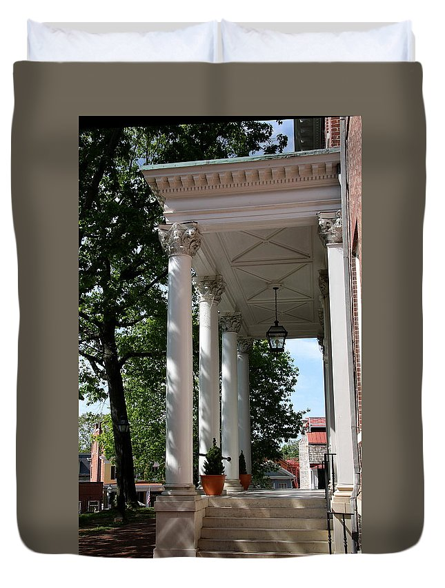 Columns Duvet Cover featuring the photograph Maryland State House Columns by Christiane Schulze Art And Photography