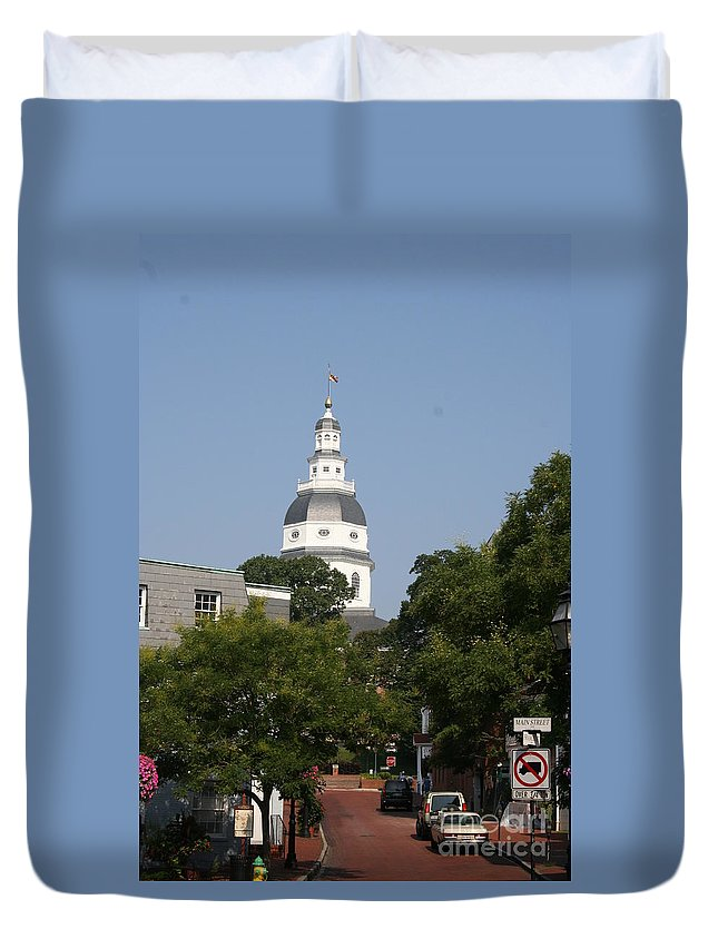 Street Duvet Cover featuring the photograph Maryland State House Cupola by Christiane Schulze Art And Photography