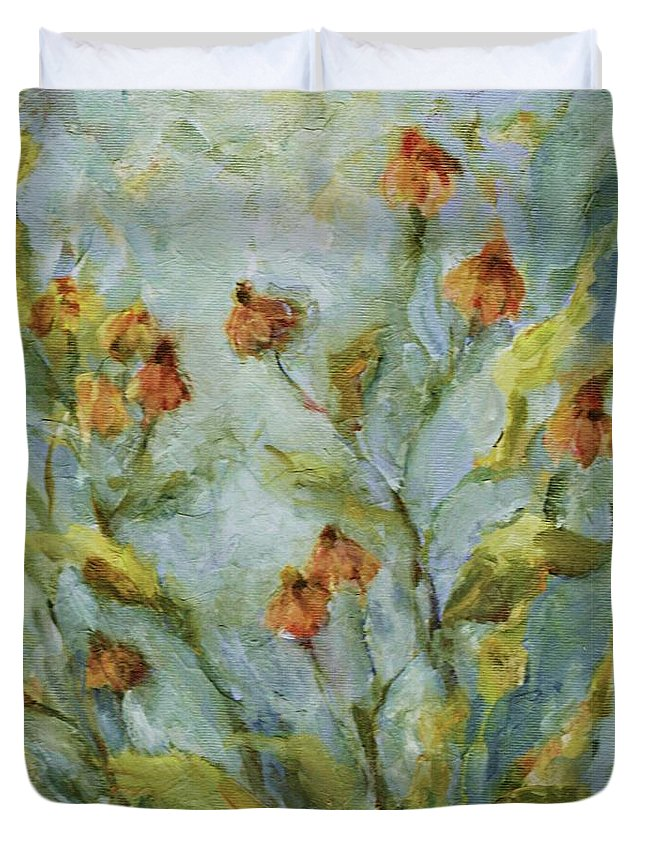 Floral Duvet Cover featuring the painting Mary's Garden by Mary Wolf