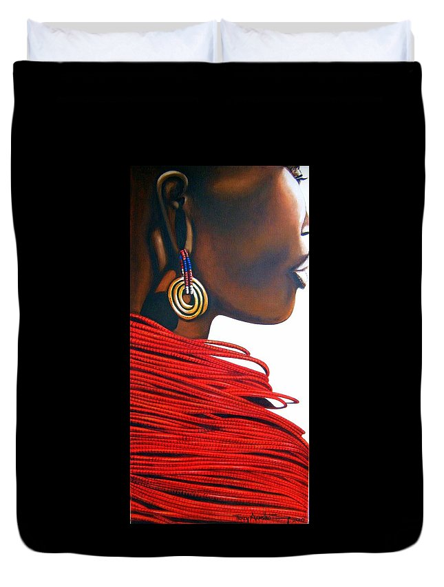 African Portrait Duvet Cover featuring the painting Masai Bride - Original Artwork by Tracey Armstrong