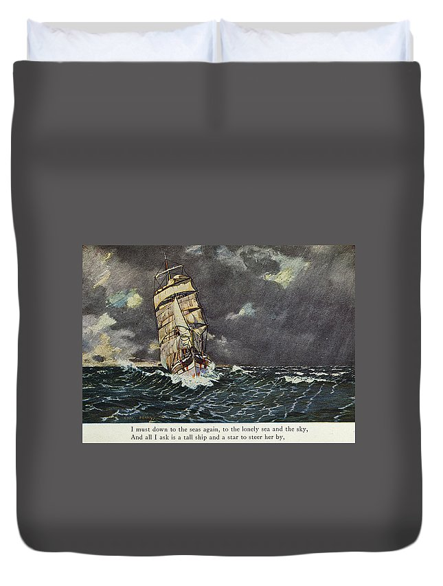 1902 Duvet Cover featuring the drawing Masefield Sea Fever, 1902 by Granger