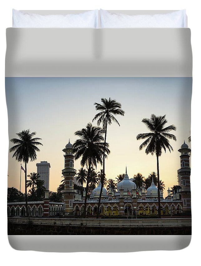 Clear Sky Duvet Cover featuring the photograph Masjid Jamek - Kuala Lumpur by @ Didier Marti