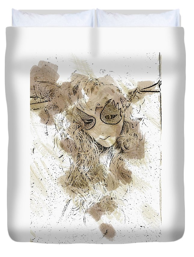 Mask Duvet Cover featuring the photograph Mask Brown Water Sketch by David Lange
