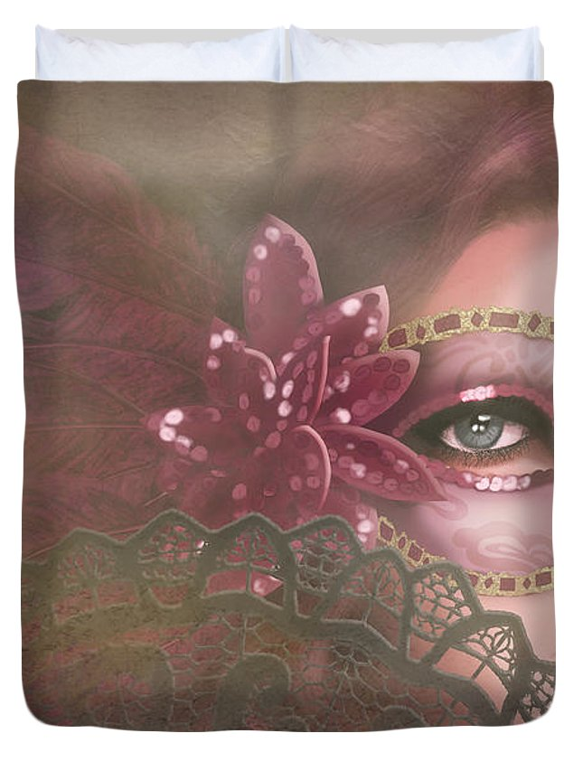 Mask Duvet Cover featuring the digital art Masked IIi by April Moen