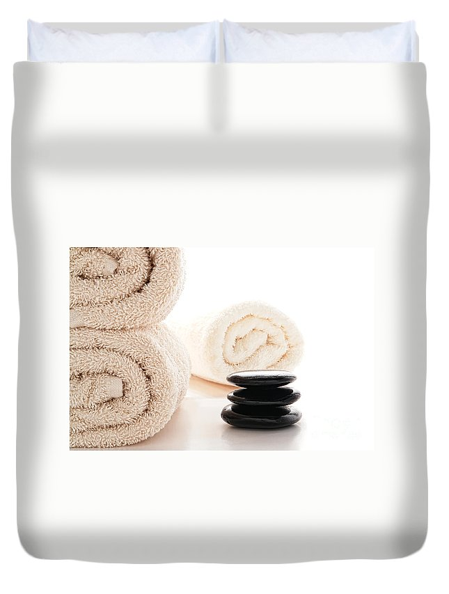 Hot Duvet Cover featuring the photograph Massage Ready by Olivier Le Queinec