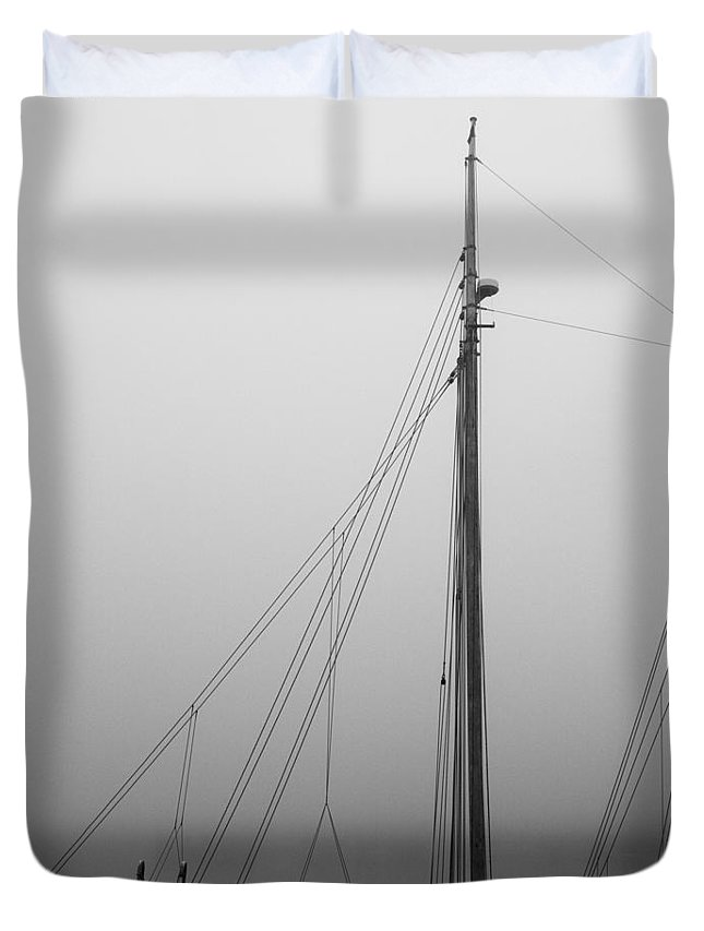 Abstract Duvet Cover featuring the photograph Mast And Rigging by Bob Orsillo