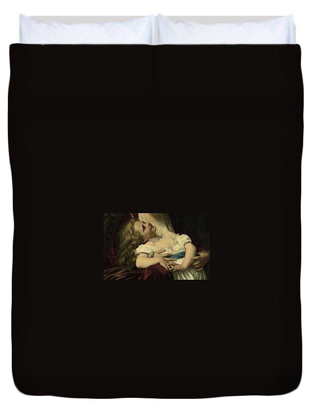 Maternal Affection Duvet Cover featuring the digital art Maternal Affection Detail by Hughes Merel