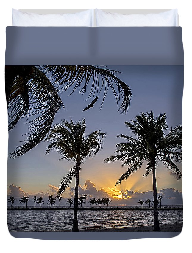 #mathesonhammock #sunrise #ocean #bay #coconutpalm #coralgables #miami #florida #streetart #zazzle #photog #togs #fineart #deals Duvet Cover featuring the photograph Matheson Hammock 2236a by Steve Lipson
