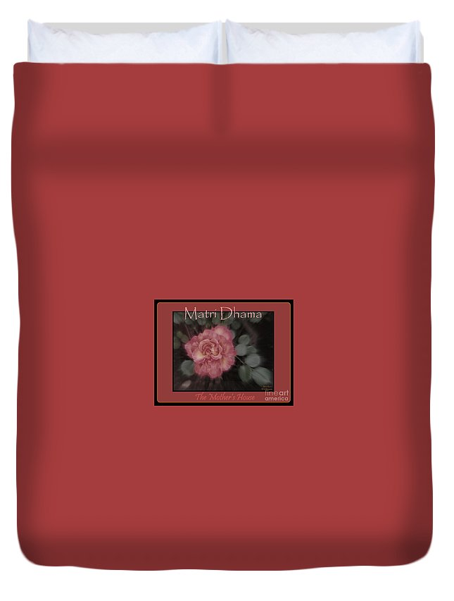 Acrylic Prints Duvet Cover featuring the photograph Matri Dhama Rose Design by Bobbee Rickard