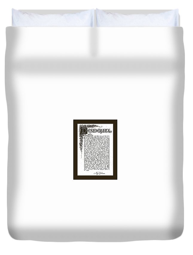 Desiderata Duvet Cover featuring the mixed media Matted Charcoal Florentine Desiderata Poster by Desiderata Gallery