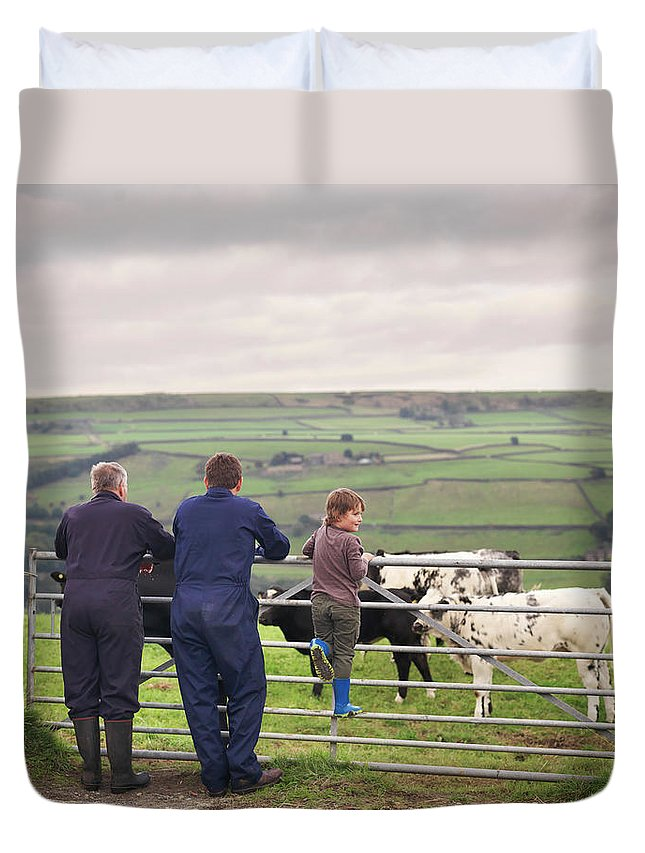 Mature Adult Duvet Cover featuring the photograph Mature Farmer, Adult Son And Grandson by Monty Rakusen