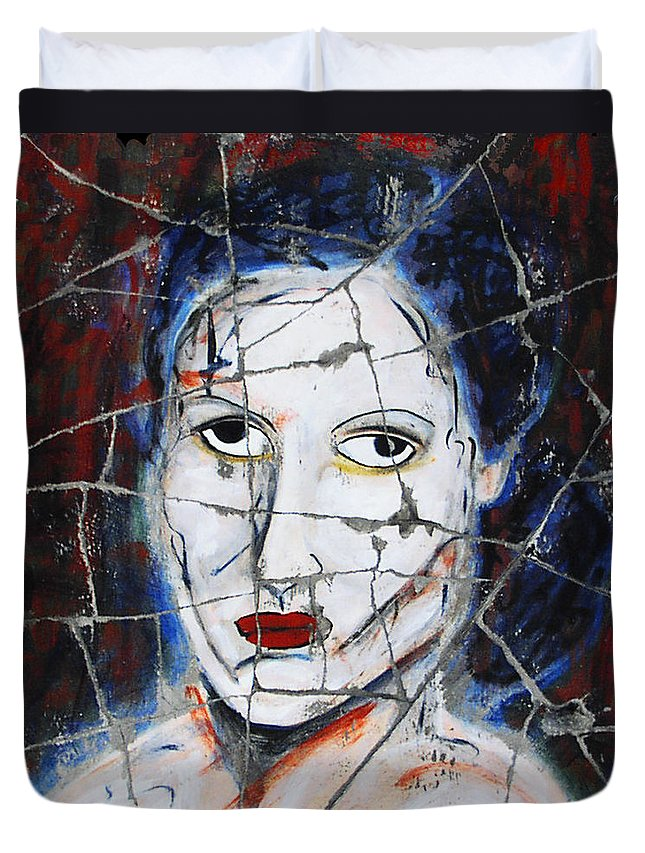 Portrait Duvet Cover featuring the painting Maude - Detail No. 1 by Steve Bogdanoff