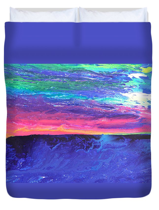 Fusionart Duvet Cover featuring the painting Maui Sunset by Ralph White