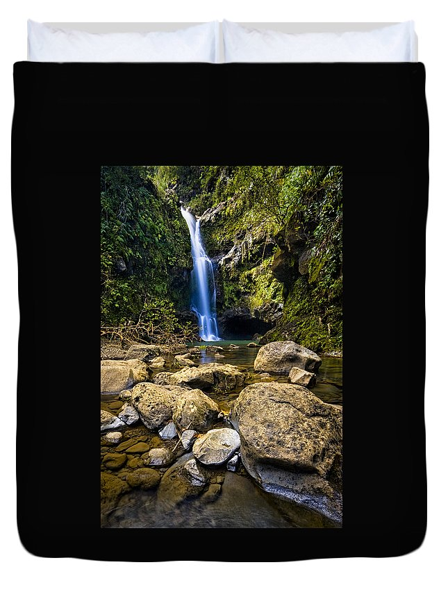 3scape Photos Duvet Cover featuring the photograph Maui Waterfall by Adam Romanowicz