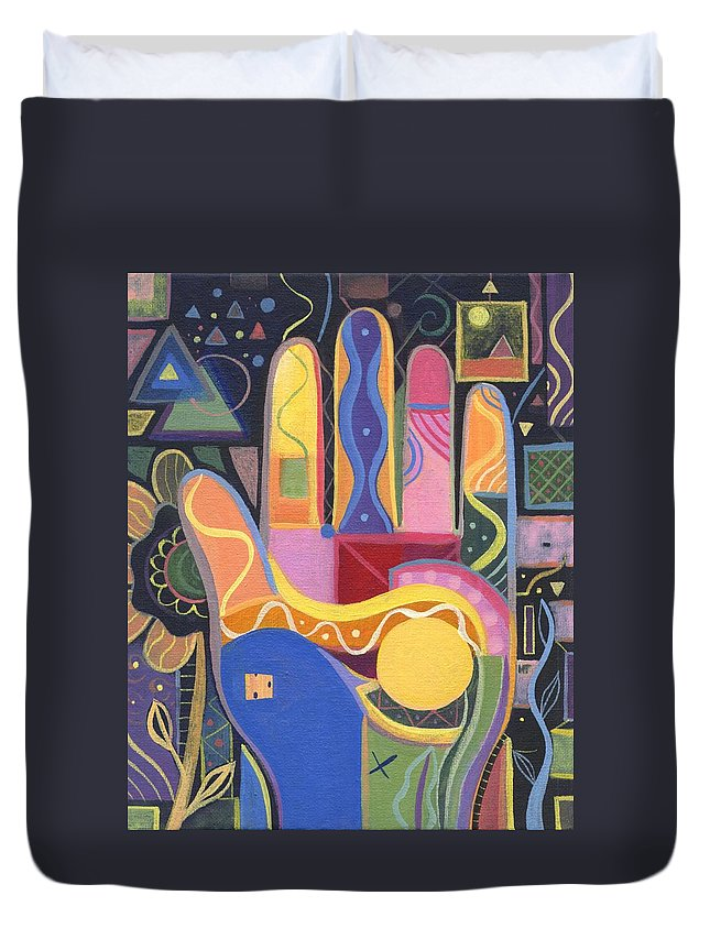 Abstract Duvet Cover featuring the painting May Creativity Be A Blessing by Helena Tiainen