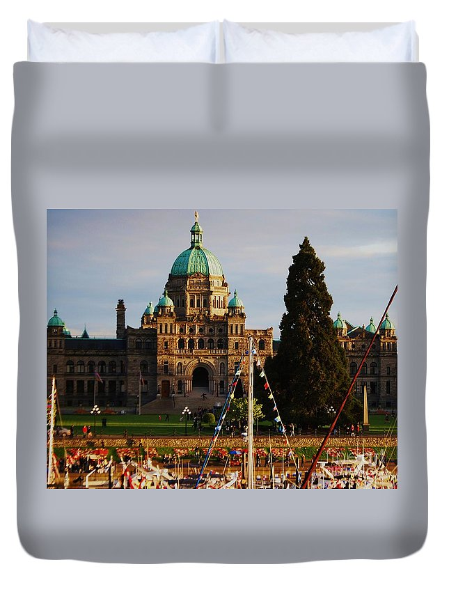 Victoria Photography British Columbia Photography Canada Photography Famous Building Photography Yacht Photography Legislative Building Photography Dome Photography Parliament Photography Architectural Photography Metal Frame Greeting Card Canvas Print Tote Bag Art Duvet Cover Art T Shirt Art Shower Curtain Art Duvet Cover featuring the photograph May Day In Victoria by Marcus Dagan