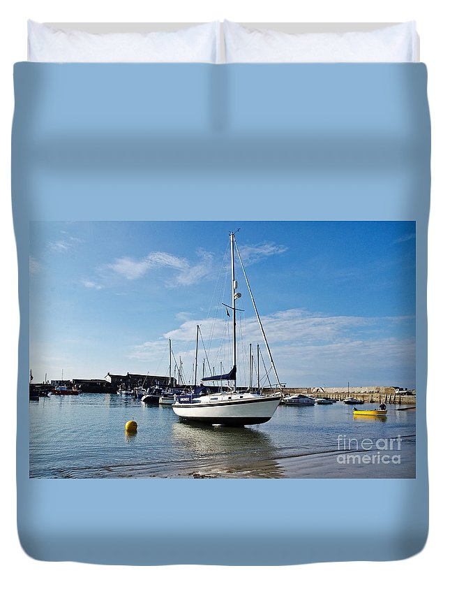 Lyme Regis Duvet Cover featuring the photograph May Morning - Lyme Regis by Susie Peek