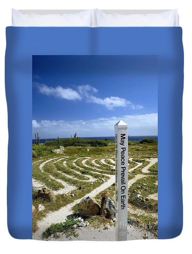 Aruba Duvet Cover featuring the photograph May Peace Prevail On Earth Peace Labyrinth Aruba by Amy Cicconi