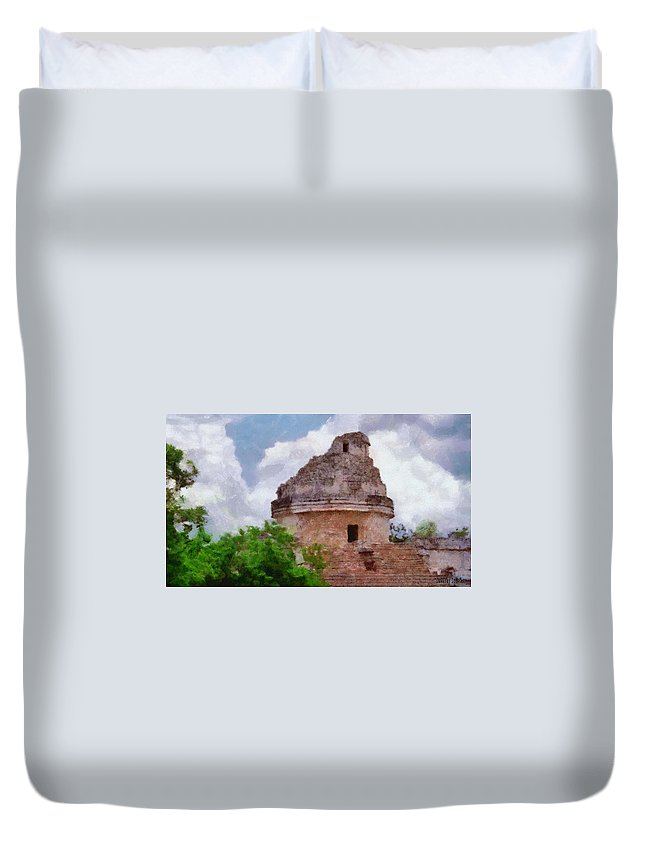 Yucatan Duvet Cover featuring the painting Mayan Observatory by Jeffrey Kolker