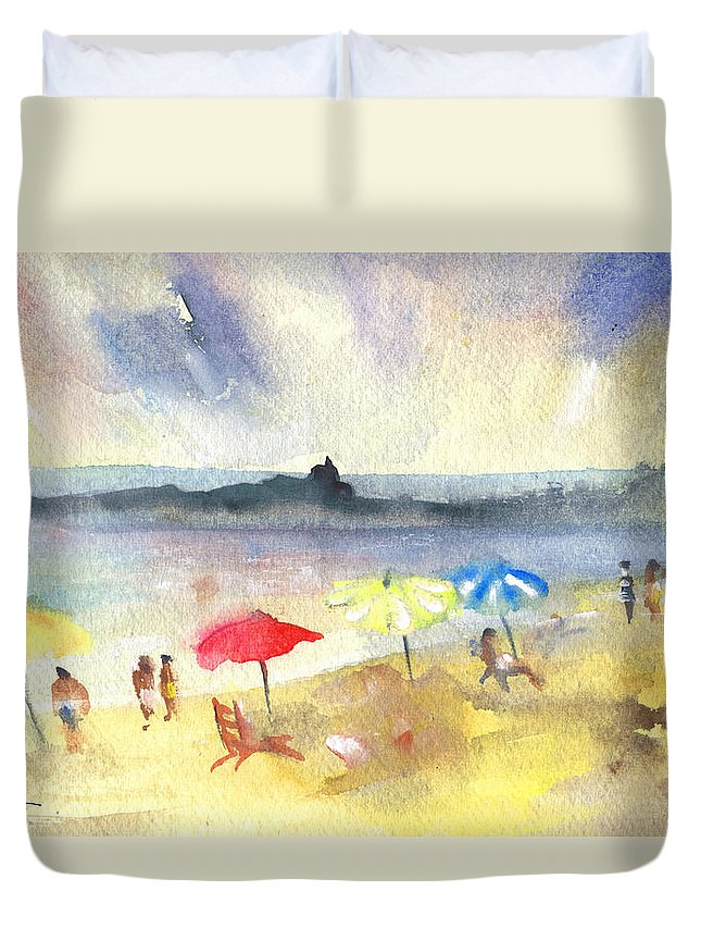 Travel Duvet Cover featuring the painting Mazarron Beach 01 by Miki De Goodaboom