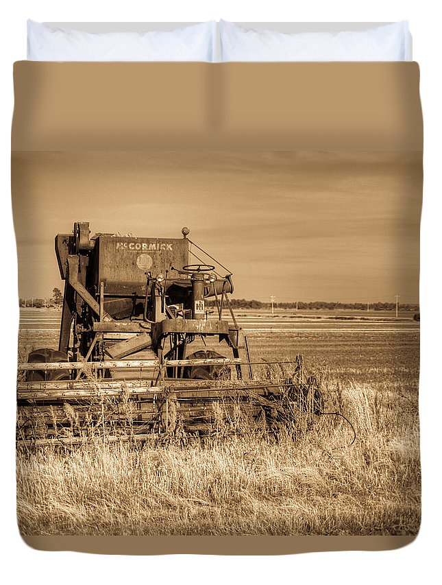 Duvet Cover featuring the photograph Mccormic Harvester In Sepia 5 by Douglas Barnett