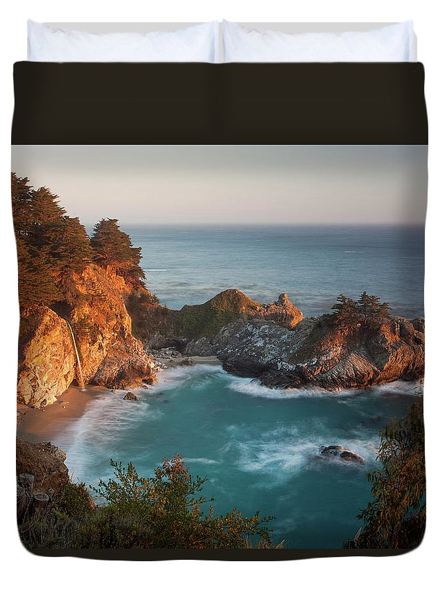 Scenics Duvet Cover featuring the photograph Mcway Falls At Sunset by Sean Duan