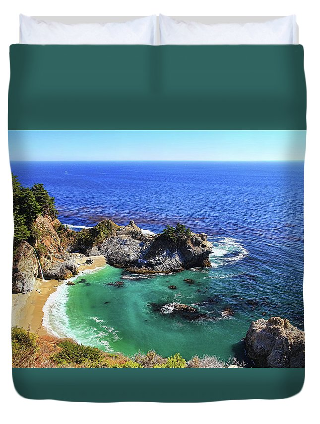 Scenics Duvet Cover featuring the photograph Mcway Falls by David Toussaint