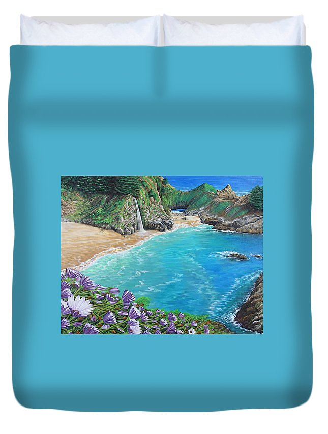 Beach Duvet Cover featuring the painting Mcway Falls by Jane Girardot