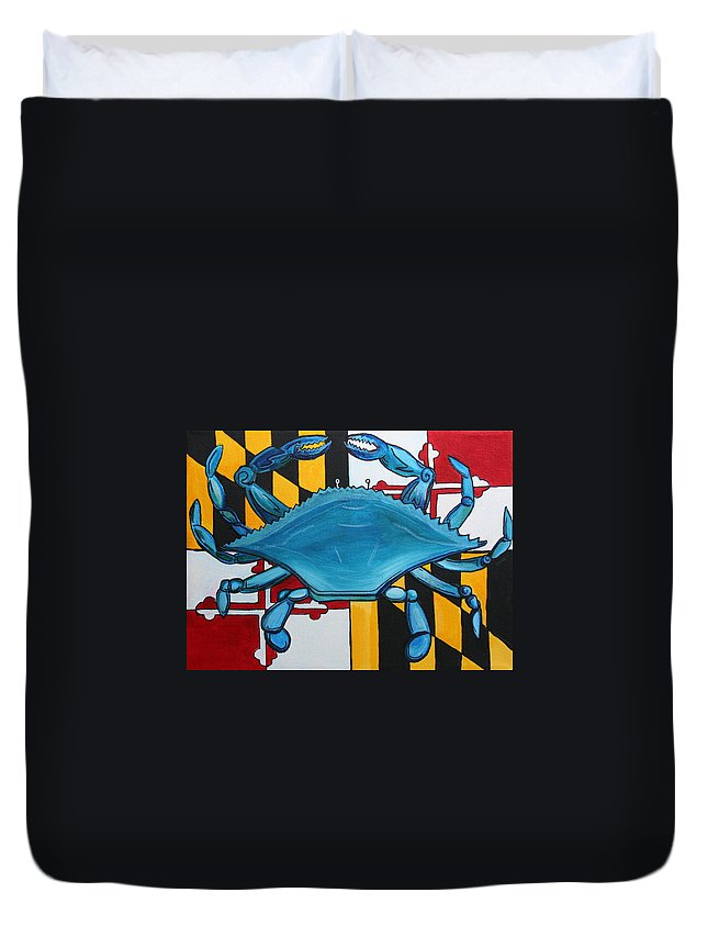 Maryland Duvet Cover featuring the painting Md Blue Crab by Kate Fortin