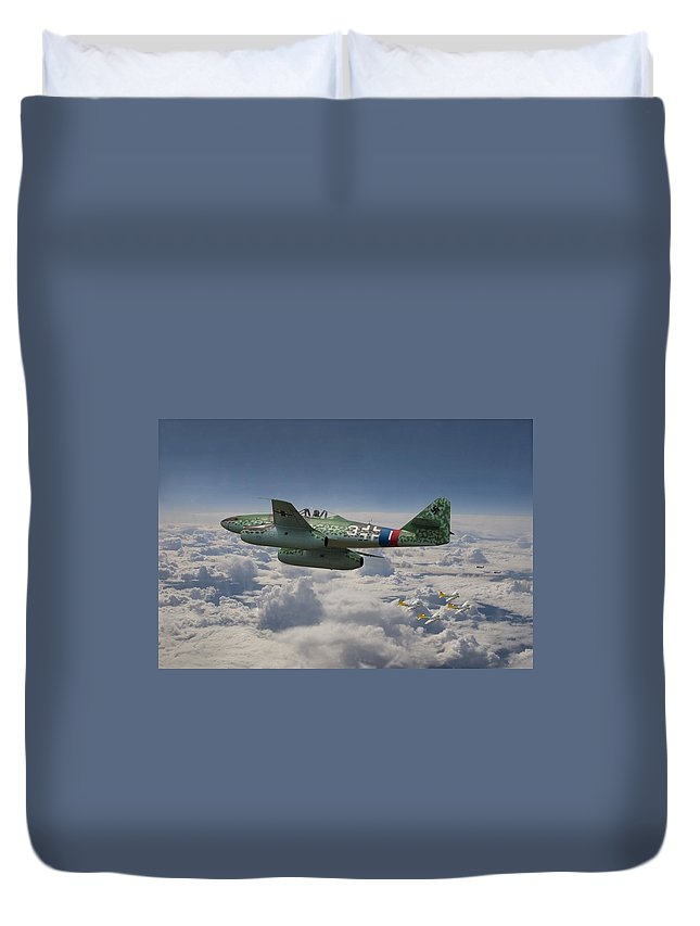 Aircraft Duvet Cover featuring the photograph Me 262 - Stormbird by Pat Speirs