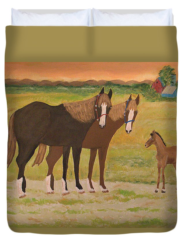Acrylic On Canvas Duvet Cover featuring the painting Me And Mrs Ed by Aat Kuijpers