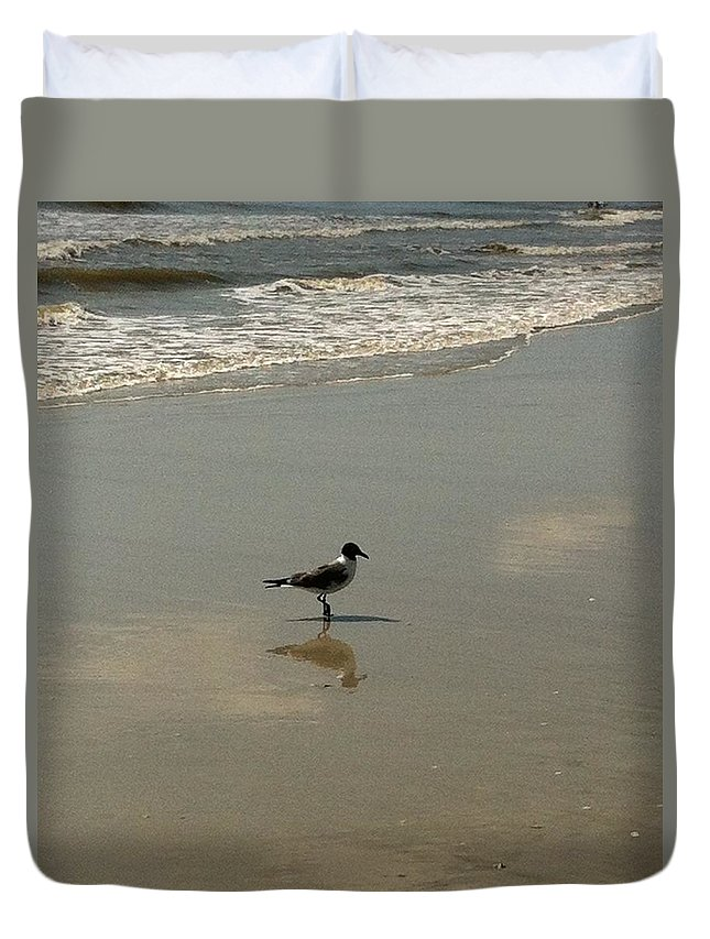 Beach Duvet Cover featuring the photograph Me And My Shadow by Marian Palucci-Lonzetta