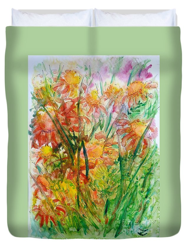 Meadow Flowers Duvet Cover featuring the painting Meadow Flowers by Zaira Dzhaubaeva